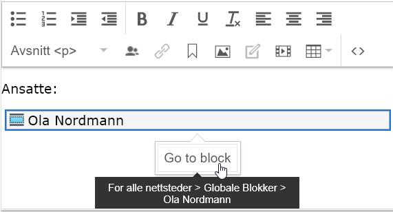 Viser at man kan navigere direkte til blokken via riktekst.