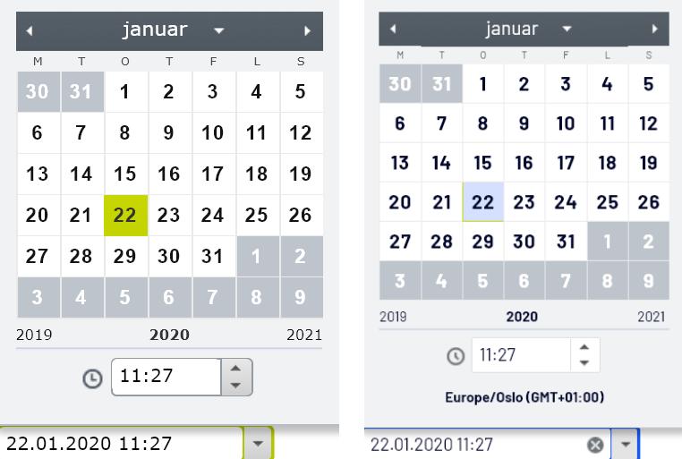 Sammenligner datoegenskapen før og etter oppgradering