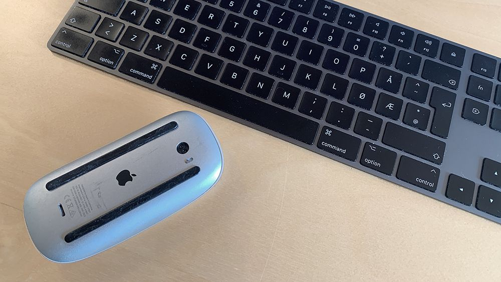 Keyboard and turned-off mouse